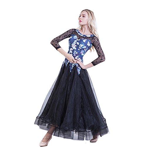 NAKOKOU Women Costumes Performance Dance Ballroom Competition Dresses Modern Waltz Foxtrot Standard Ballroom Dancing Clothes(Blue Flower,XXXL)