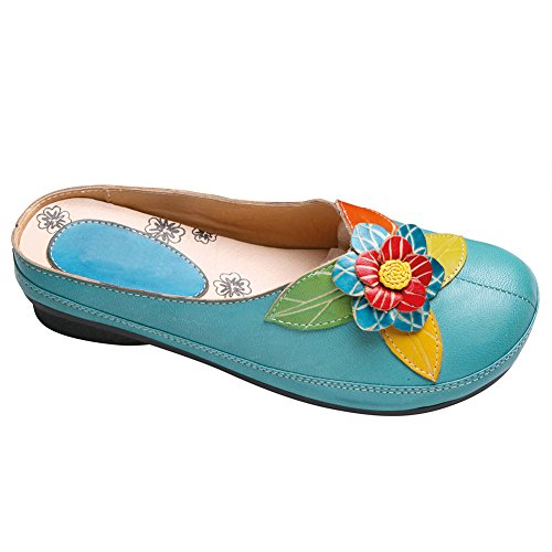 Catálogo Clásicos Zuecos De Cuero Para Mujer - Flor Esculpida Zapatos Con Espalda Abierta Turquesa