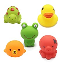 Bath Toys, Chickwin 5pcs Animals Baby Bathing Soft Rubber Toys Kids Bath Play Water Pool Tub Sounding Toy
