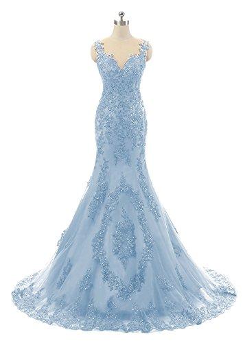 Dress Donne Pizzo Luce Delle Prom Dis Sirena Perline Sera Blu Cinghie Abiti Di Formali w8B7wqx
