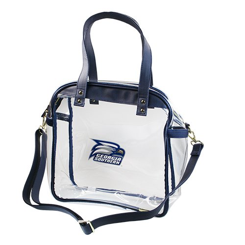 CAPRI DESIGNS CLEARLY FASHION OFFICIAL LICENSED STADIUM COLLECTION-- COATED COTTON CANVAS CARRYALL TOTE---MEETS STADIUM REQUIREMENTS (Georgia Southern University) by CLEARLY FASHION