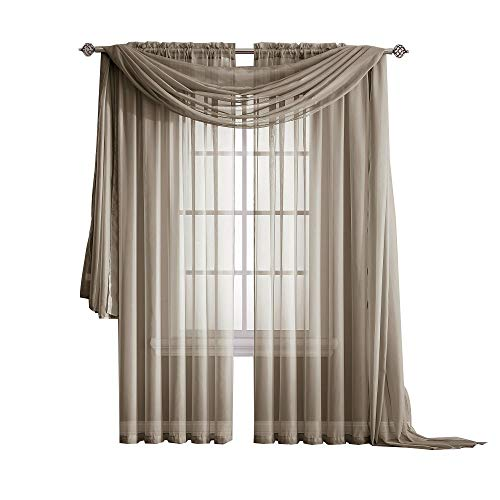 Warm Home Designs Extra Long Brown Taupe Sheer Window Scarf. Valance Scarves are 56 X 216 Inches in Size. Great As Window Treatments, Bed Canopy Or for Decorative Project. Color: Taupe 216