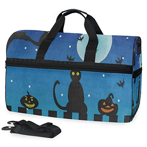 Travel Gym Bag Halloween Night Cat Owl Pumpkin Weekender Bag With Shoes Compartment Foldable Duffle Bag For Men Women