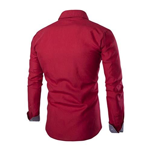 Rouge Chemisier Chemises Oxford Formel Longues Slim Fit Maxi Meilleure Mens Vente Top LuckyGirls Chemise Manches Mode T Bouton Shirt Formelle 4XL Costumes Occasionnels 0w4wBxqUZn