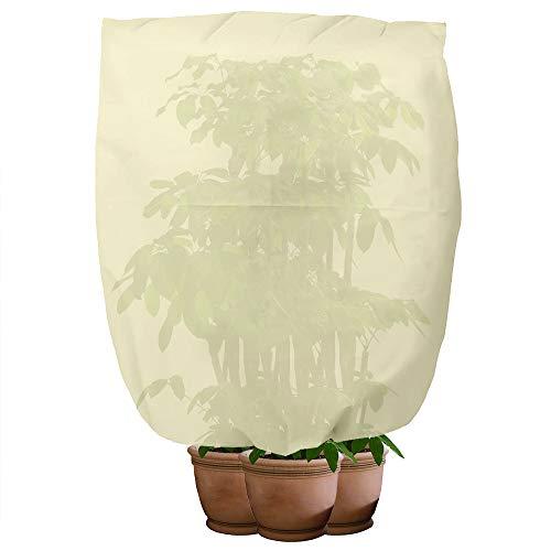 Bcamelys Winterschutz für Pflanzen, Pflanzenschutz, Kübelpflanzensack, Frostschutz Schutzhaube mit Tunnelzug, Luft-und Lichtdurchlässige,für Pflanzen im Freien Geeignet,100x80cm(Beige)