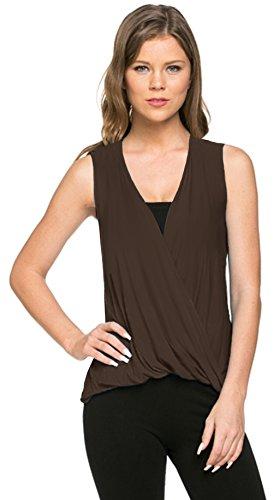 - Azules Women's Deep Criss Cross Sleeveless Shirt (Medium, Brown)