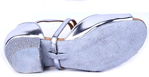 Girls Soft-soled Glittering Latin Ballroom Dance Shoes with Leather Strap(13.5, Silver) by staychicfashion (Image #3)