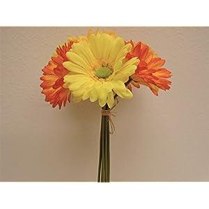JumpingLight Orange Yellow Gerbera Daisy Bundle 7 Artificial Silk Flowers 12'' 8665ORYL Artificial Flowers Wedding Party Centerpieces Arrangements Bouquets Supplies 32