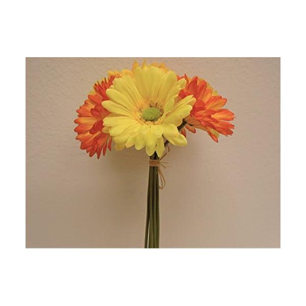 "JumpingLight Orange Yellow Gerbera Daisy Bundle 7 Artificial Silk Flowers 12"" 8665ORYL Artificial Flowers Wedding Party Centerpieces Arrangements Bouquets Supplies"