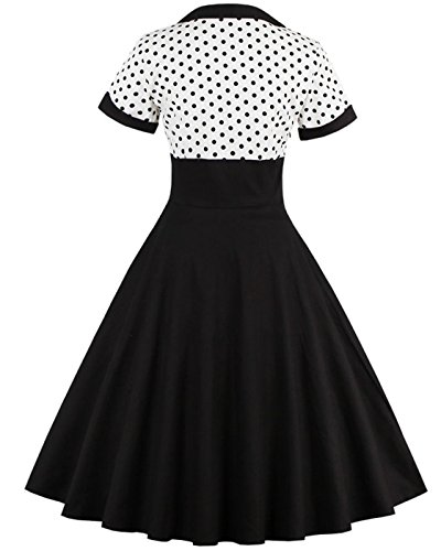 Women's Polka Vintage Party Style Retro Dress black 1353w VERNASSA Dot Swing Cocktail gfwSUqnd5x