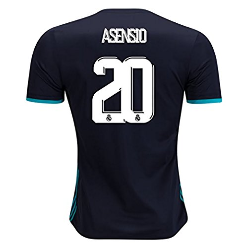 BlackDolphin Real Madrid Away 17/18 Soccer Jersey Asensio #20 Men's Color Black Size L (20 Away Soccer Jersey)