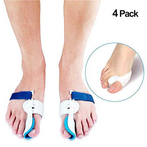 Bunion Corrector,Enjoyee 2 pcs Adjustable Velcro Bunion Splint Protector Sleeves kit,Toe Straightener for Hallux Valgus ,Hammer Toe Pain Relief with 2 pcs Gel Toe Separators