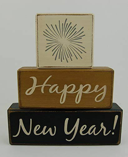Happy New Year -Fireworks - Primitive Country Wood Stacking Sign Blocks Seasonal Christmas Winter Snowman Home Decor