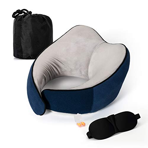 Dreamer Car Upgraded Neck Pillow for Airplane Travel – Memory Foam Travel Pillow for Airplanes – Travel Kit with Travel…