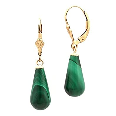 Trustmark 14-20 Gold Filled 16mm Natural Green Malachite Teardrop Lever Back Earrings