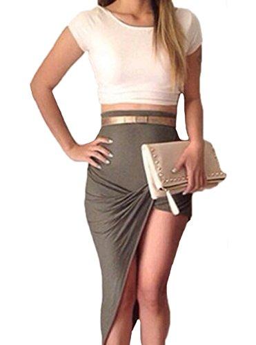 Vakind® Sexy Women Irregular Hem 2 Piece Set Tops Shirt Skirt Casual Dress (Asian M)