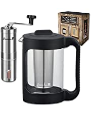 SENZOKAN - Cold Brew Coffee Makers and Coffee Grinder - 1.5 L / 51 oz. and Stainless Steel Filter - Grinder with Ajustable Setting and Conical Burr Mill.