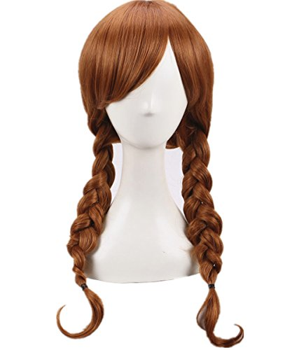 FWHWJ Annabelle Wig Cosplay Long Light Brown Double Tails Hair Wig