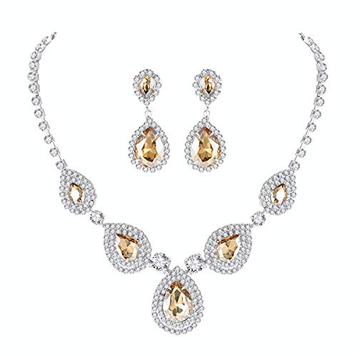 mecresh Bridal Teardrop Jewelry Sets, Crystal Wedding Necklace Earrings Sets Jewelry Engagement -