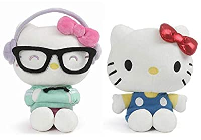 "GUND Hello Kitty 9.5"" Kawaii Style Plush Bundle with 9.5"" Classic Outfit Plush"