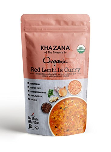 Khazana Gourmet Indian Food Ready to Eat Packaged Meals |USDA-Organic/Vegan/KETO|- Red Lentils Curry • 10oz(6 Pack) • [Prepared Microwave Dishes, Healthy & Tasty Bite of Indian Kitchen, MRE]  -