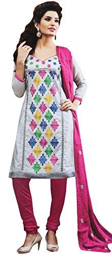 Unstitched Straight Salwar Kameez Embroidered Suit Indian Ethnic Wear