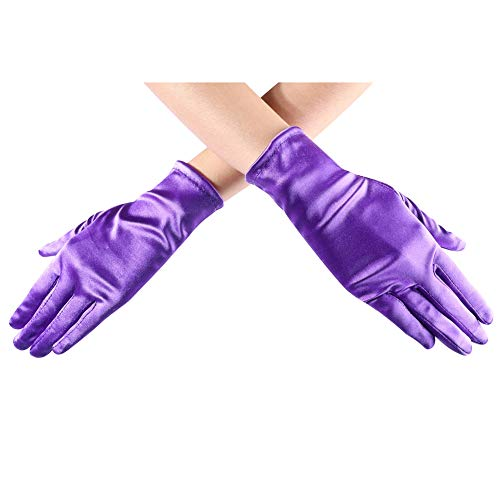 Xuhan Short Opera Costume Dress Satin Gloves for Women Wrist Length (8.66 inches-Purple)