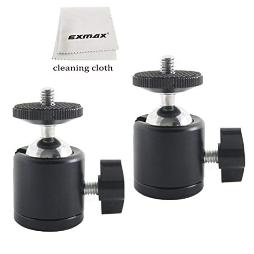 "EXMAX 360 Degree Swivel Mini Tripod Ball Head with 1/4"" Screw Thread Base for DSLR Camera Camcorder LED Light Tripod Monopod Bracket HTC Vive Gopro - 2 Pack Black ()"