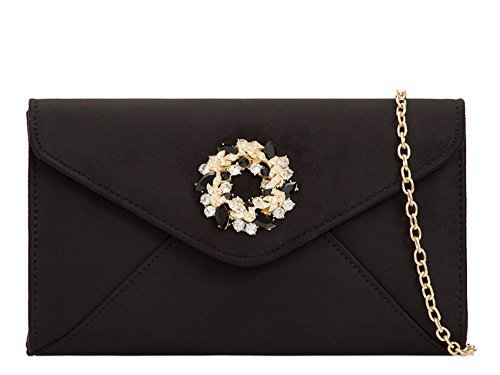 Black Ladies Faux Jewel Purse Bag Suede Diamante Evening Detail Clutch qzHPqwS