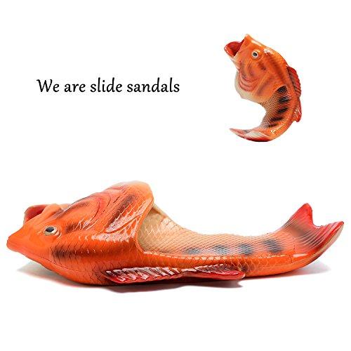 Equick Unisexe Antidérapant Poisson Pantoufles Plage Glisser Sur Ouvert Orteil Glisser Des Sandales Danimaux Pour Les Femmes Hommes Enfants Orange