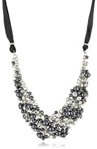 Nina 'Melanie' Charcoal Glass Pearl and Crystal Necklace
