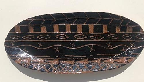 (African Inspired Hand Carved Sgraffito Black Terra Cotta Serving Dish Tray Platter)