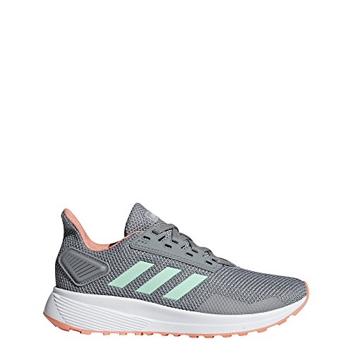 (adidas Performance Unisex-Kids Duramo 9 Running Shoe, Grey Heather/Clear Mint/Granite, 4 M US Big)