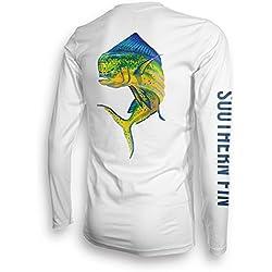 Performance Fishing Shirt Unisex Southern Fin UPF 50 Dri Fit Long Sleeve Apparel - Large, Mahi ( mahi_l )
