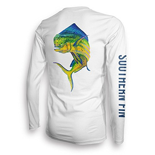 Performance Fishing Shirt Unisex Southern Fin UPF 50 Dri Fit Long Sleeve Apparel - Large, Mahi ( mahi_l )