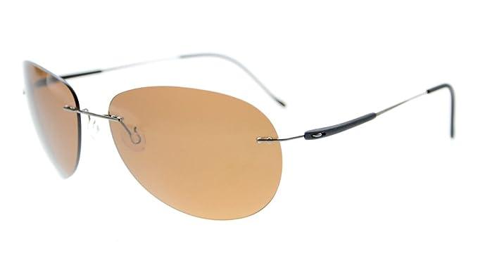 8cbf82ef94 Eyekepper sin montura de la lente de titanio gafas de sol polarizadas Brown  Lens: Amazon.es: Ropa y accesorios