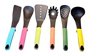 Skenda Home Kitchen Tools Set With 6 Nonstick Baking Cooking Utensils - Colorful Elevate Handles ( 5 ) E-Books with this Set. A Great Idea for Housewarming or Bridal Shower