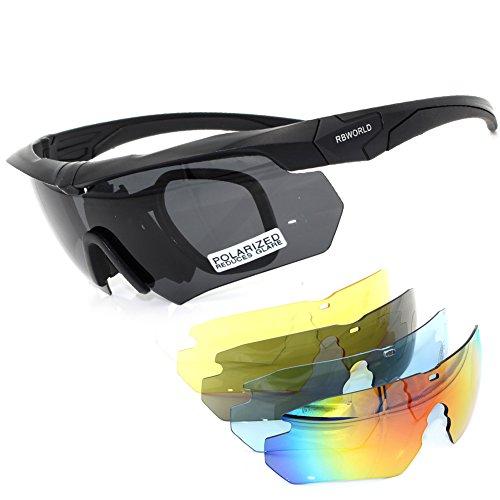 Polarized Designer Tactical Military Sunglasses 5 Set Interchangeable Lenses (Black, Grey)