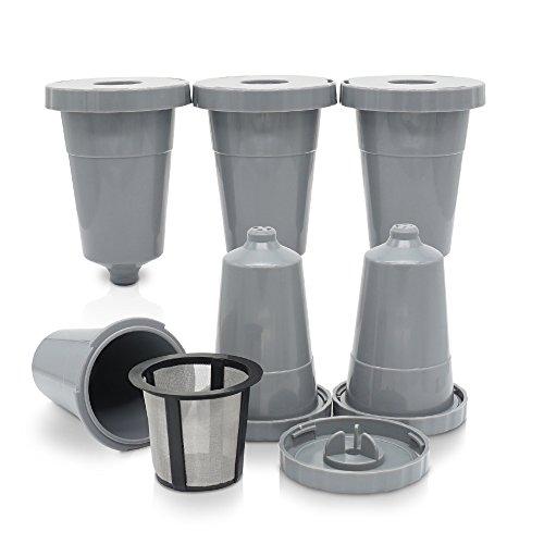 Paquete de 6 vasos reutilizables K para ajuste universal de Keurig Brewers, cápsula de filtro de cápsula de café...