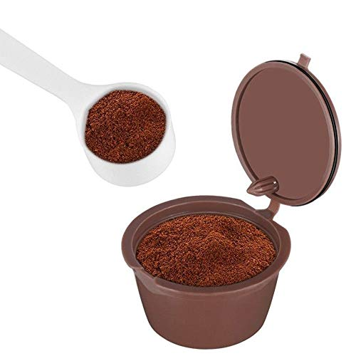 SUJING 2 Cups/Pack Refillable Filter Cup Pods Capsule Refilling Reusable Coffee Capsule Coffee Maker with Coffee Spoon (Keurig 2 Pc K Cup Storage Dispenser)