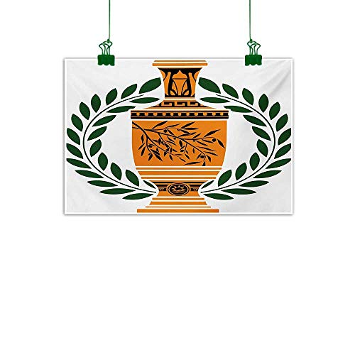 Toga Party,Room Decor Old Antique Greek Vase with Olive Branch Motif and Laurel Wreath Modern Art Hunter Green Orange Black W 32