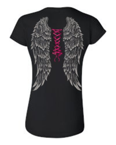 [Juniors Angel Wings Corsette Style Black T-shirt (XL)] (Fairy Wing Tattoos)