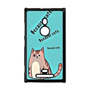 Funny Design&Because Cats Background Case Cover for Nokia Lumia 925- Personalized Hard Cell Phone Back Protective Case Shell-Perfect as gift