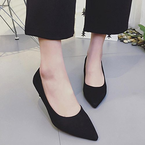 Inkach Womens Flat Shoes - Ladies Casual Pointed Toe Slip-On Shoes - Thin High Heels Shoes Black 45NQj9KS