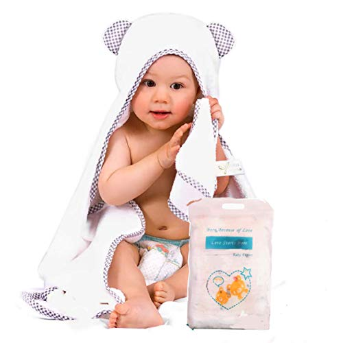 Organic Bamboo Hooded Baby Towel with Bonus Washcloth - Baby Bath Towels with Hood for Girls, Boys, Baby, Infant, Toddler