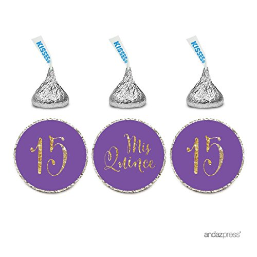 Andaz Press Gold Glitter Print Chocolate Drop Labels Stickers, Mis Quince Sweet 15 Birthday Quinceanera, Purple, 216-Pack, Not Real Glitter, For Hershey's Kisses Party Favors
