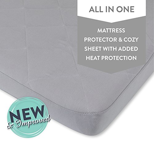Waterproof Cotton Quilted Pack n Play Sheet | Mini Crib Sheet | New Revised Fit with Added Heat Protection |All in one Mattress Pad Cover and Cozy Sheet, Grey by Ely's & Co For Sale