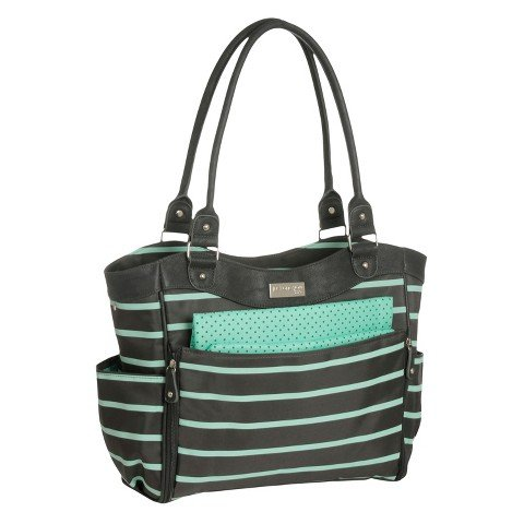 Carter's JOY Zip Down Front Fashion Tote Diaper Bag – Grey/Mint Green Stripe For Sale