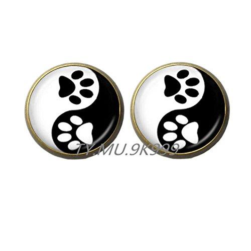Yao0dianxku Yin Yang Earrings Pet Paw Print Stud Earrings Handprint Art Earrings Tai Ji Jewelry for Animal Lover Pet Lover Cat Dog Birthday.Y061 (Handprint Halloween Cat)