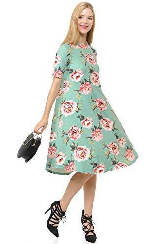 Dress Floral Trapeze - iconic luxe Women's Mock Neck Trapeze Midi Dress Medium Floral Sage Blush